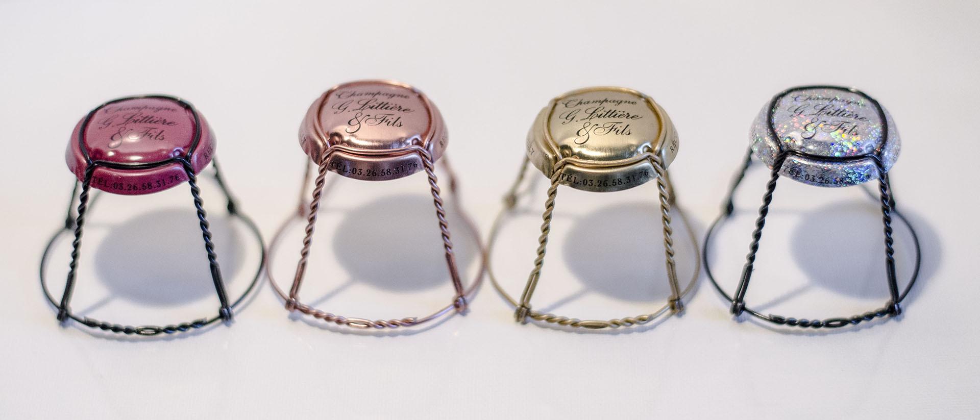 Photos des quatre nouvelles capsules champagne Gérard littière